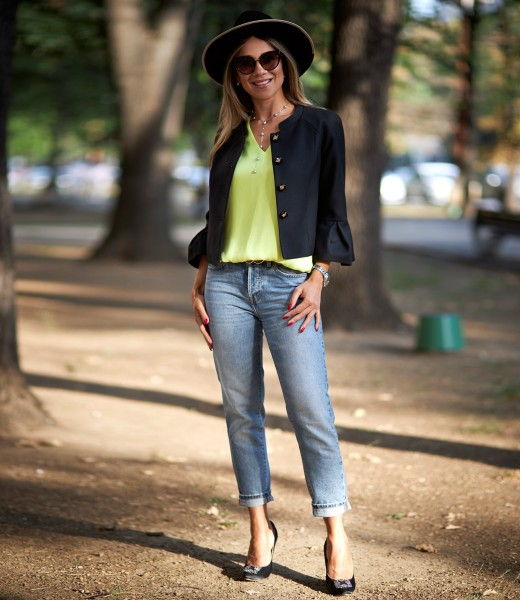 Jacket with peplum cuffs with casual satin blouse