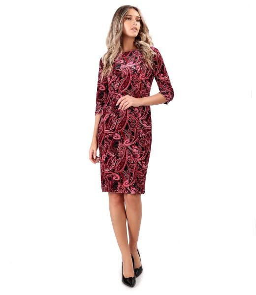 Elastic velvet dress printed with paisley motifs