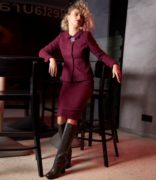 Office women suit with skirt and jacket made of curls with wool and alpaca