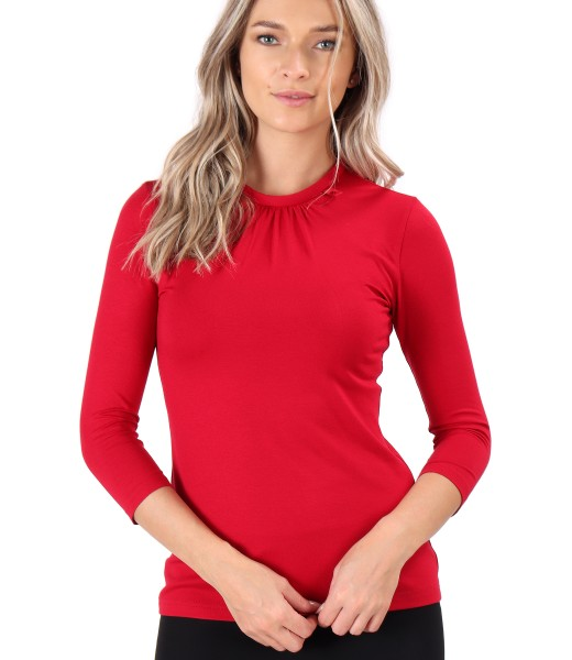 Elastic jersey blouse with round collar
