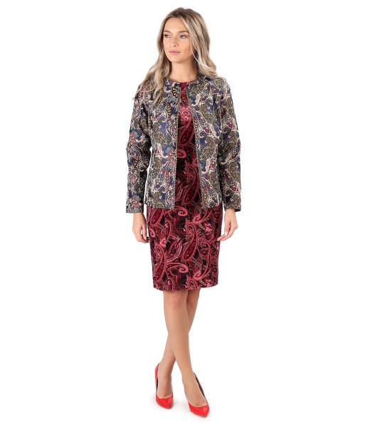Elegant outfit with brocade jacket with velvet midi dress