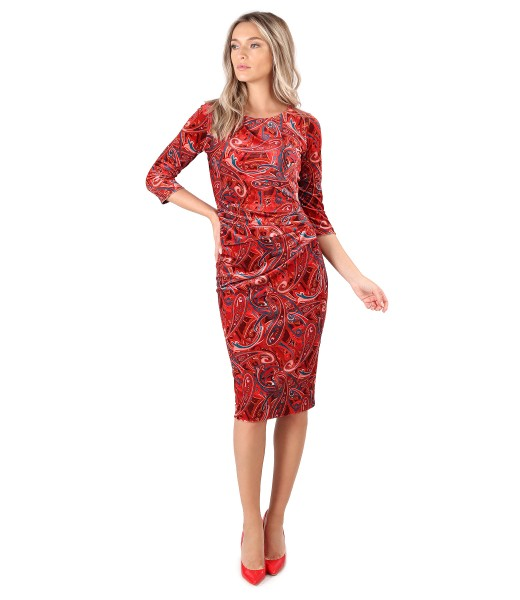 Dress made of elastic velvet printed paisley with folds on the front
