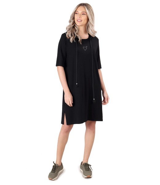 Casual dress made of elastic jersey with hood