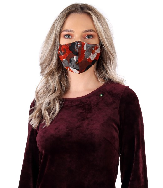 Reusable brocade jersey mask with velvet floral motifs