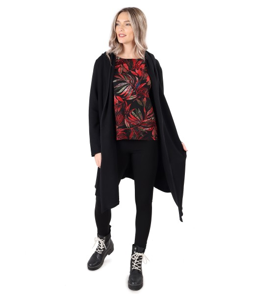Long sweatshirt with thick elastic jersey blouse and leggings