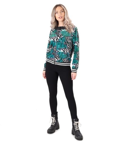Sweatshirt without hood and elastic jersey leggings