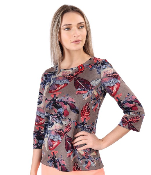 Blouse made of thick elastic jersey printed with floral motifs