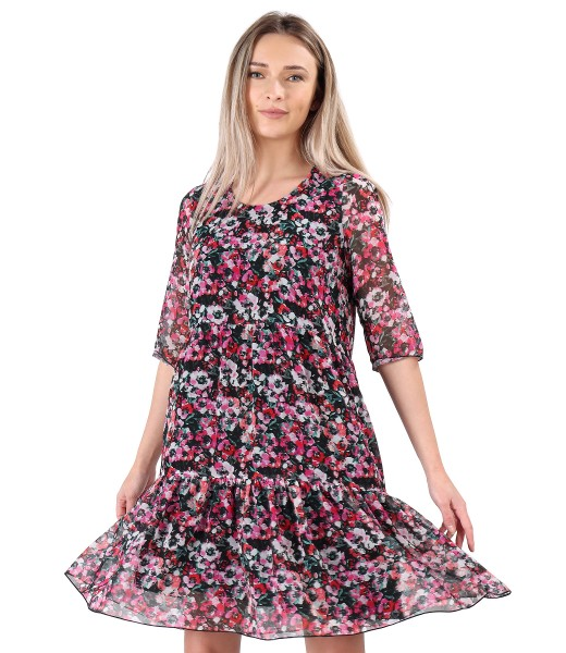 Dress with ruffles printed with floral motifs