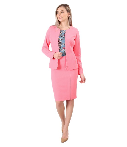 Office women suit with skirt and jacket made of elastic fabric