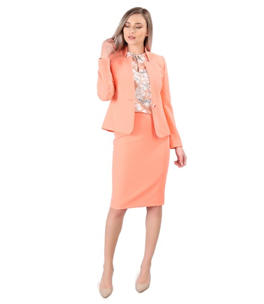 Office women suit with jacket and skirt made of elastic fabric