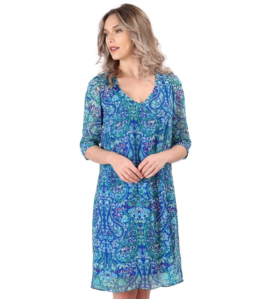 Casual veil dress with floral print