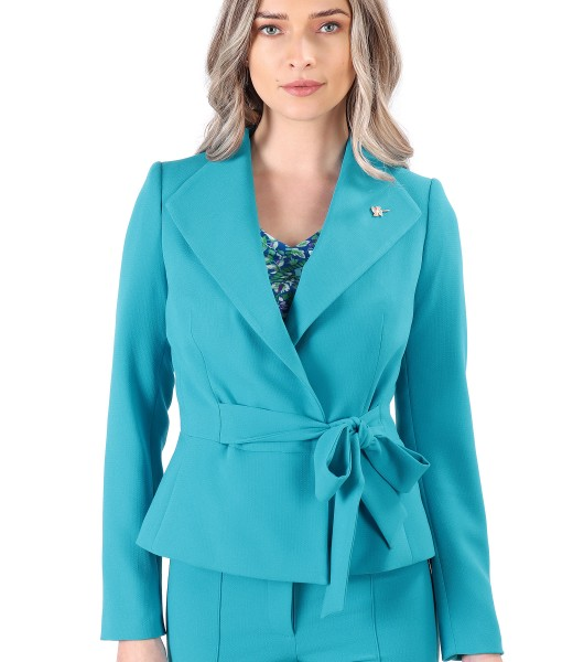 Office jacket with waist cord