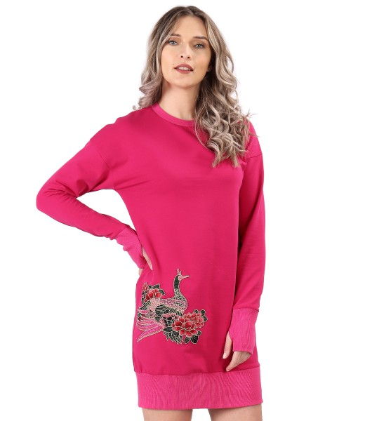 Cotton sweatshirt dress with embroidery applied on the face