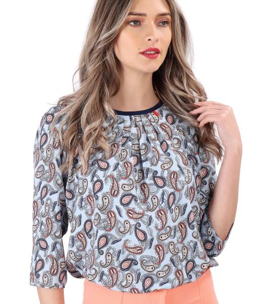 Paisley printed viscose casual blouse