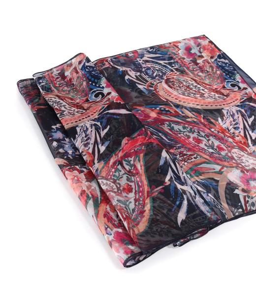 Organza veil scarf printed with floral motifs