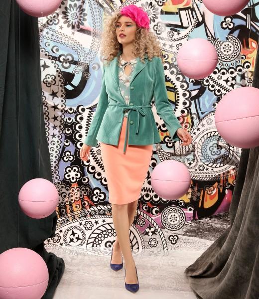 Velvet jacket with elastic fabric tapered skirt