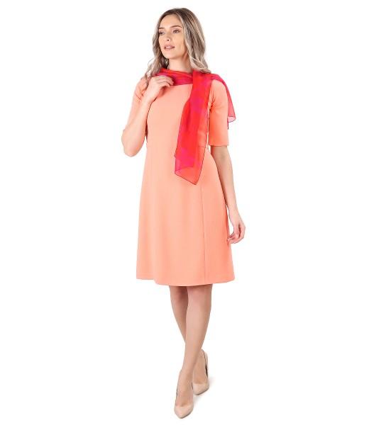 Flared dress with organza veil scarf