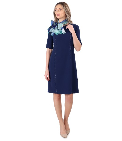 Office outfit with flared dress and scarf