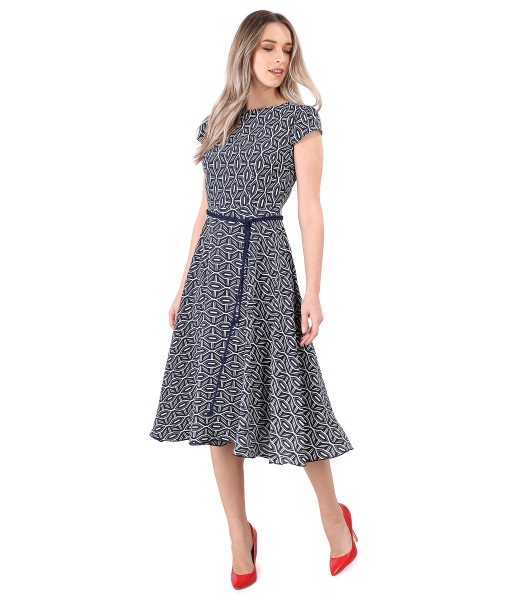 Elegant viscose dress printed with geometric motifs