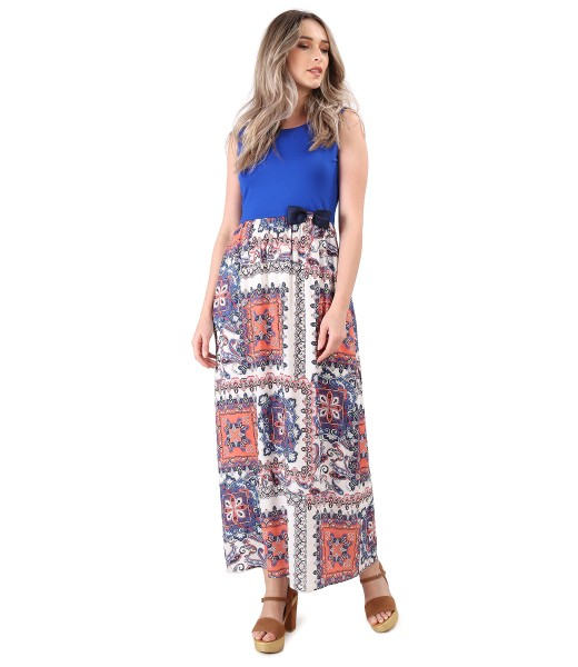 Long dress with printed viscose skirt