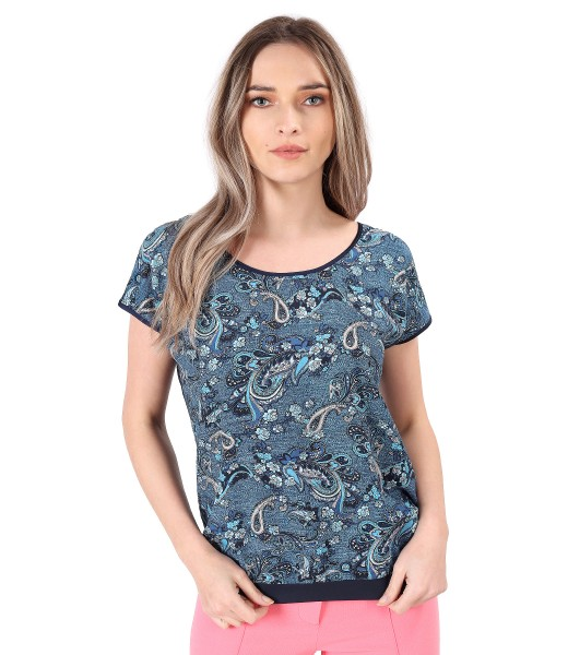 Blouse with viscose front printed with paisley motifs