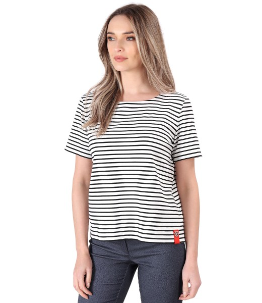 Striped thik elastic jersey blouse