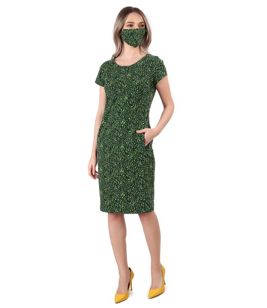 Elegant outfit with midi dress and elastic cotton mask
