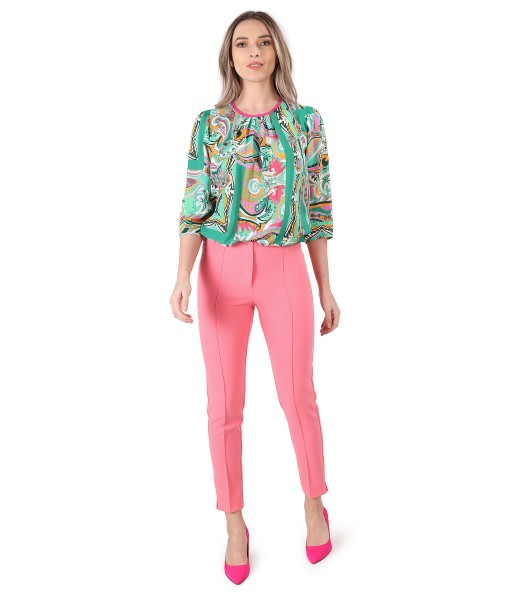 Casual viscose blouse with ankle pants