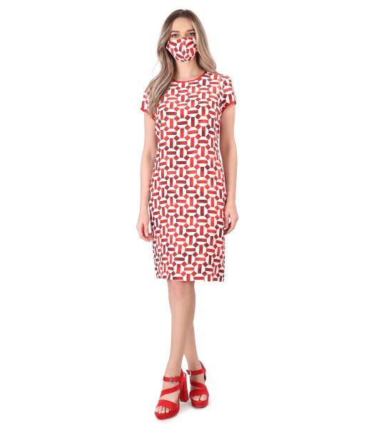 Dress and mask made of viscose with linen printed with geometric motifs
