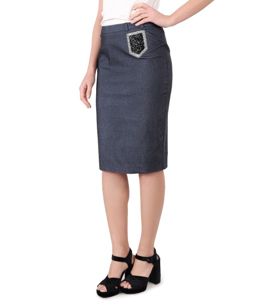 Elastic denim office skirt
