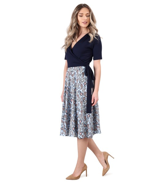 Dress with viscose skirt printed with paisley motifs