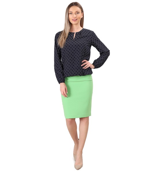 Viscose blouse printed with office skirt