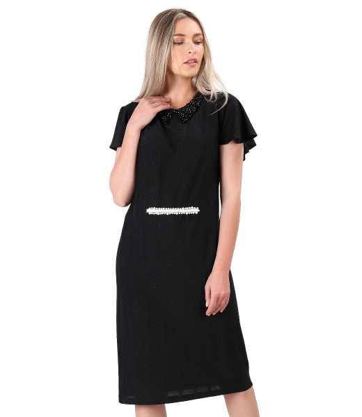 Elegant viscose dress with metallic thread
