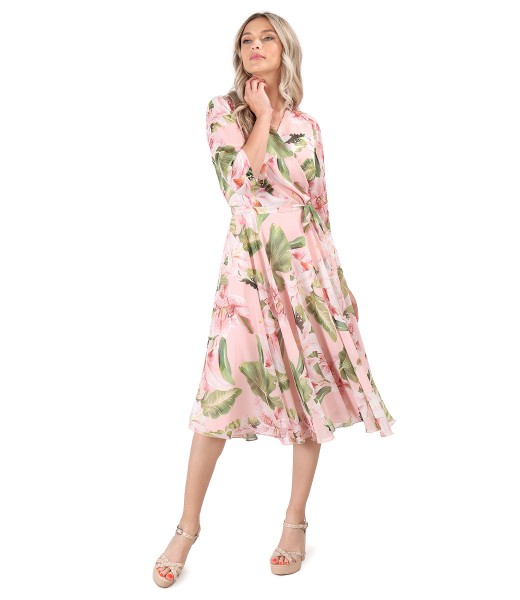 Printed veil dress with oversized flowers