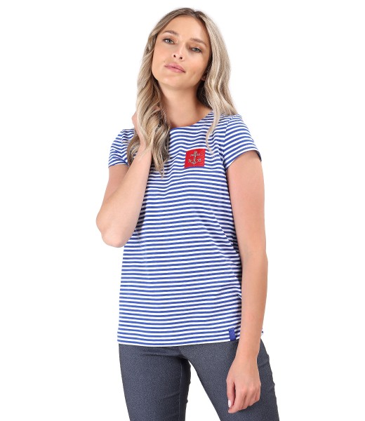 Striped elastic jersey blouse
