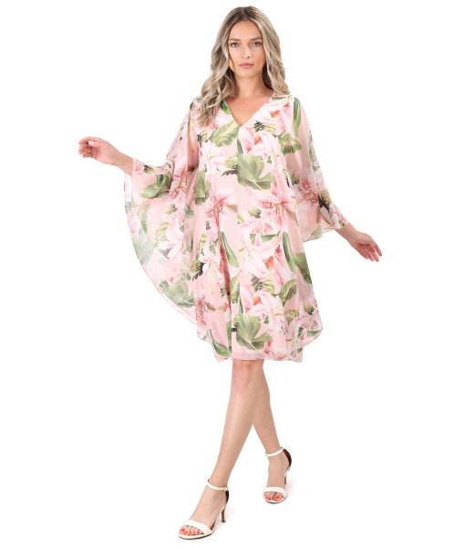 Butterfly dress made of printed veil with floral motifs