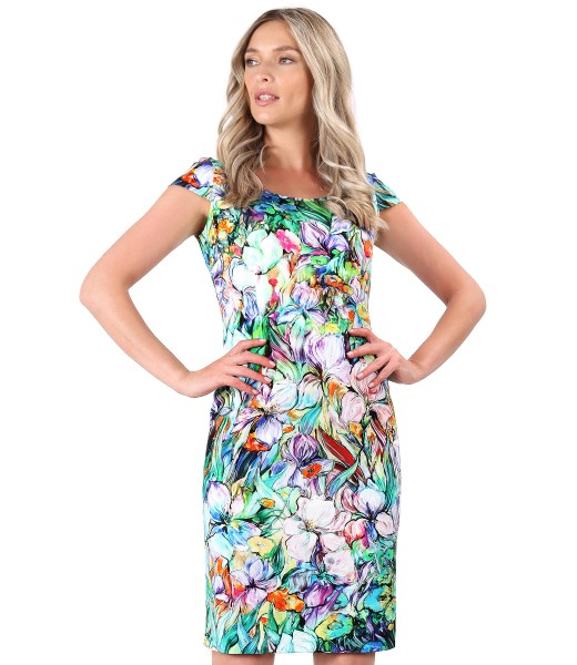 Elastic cotton satin dress with flowers