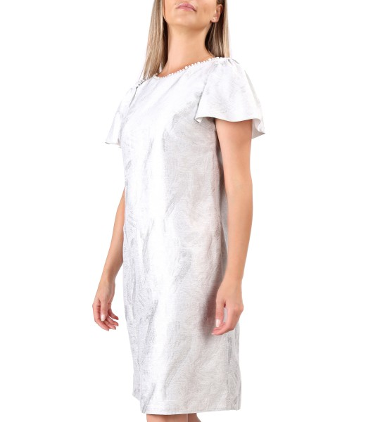 Brocade fabric dress with linen and pearls at the neckline