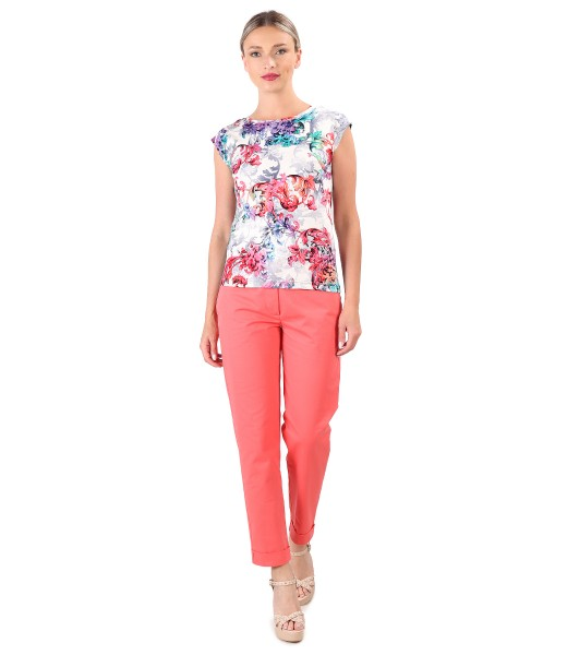 Elegant outfit with cotton pants with lycra and jersey blouse