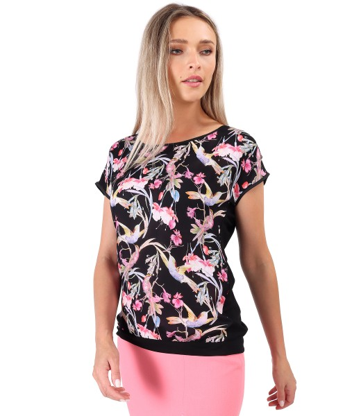 Blouse with viscose front printed with hummingbirds and flowers