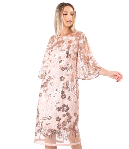 Evening dress with wide lace sleeves with sequins