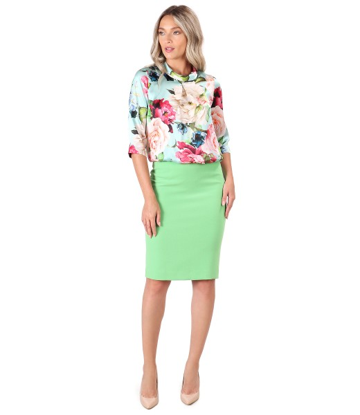 Elegant outfit with natural silk blouse and tapered skirt
