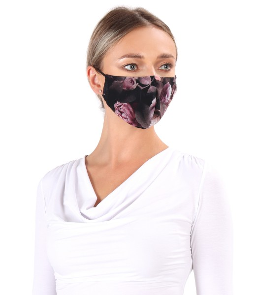 Reusable veil mask printed with floral motifs