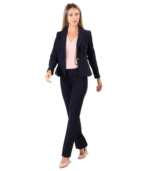 Office women suit with elastic fabric pants and jacket