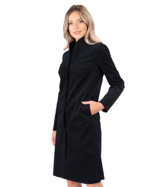 Printed cotton velvet overcoat