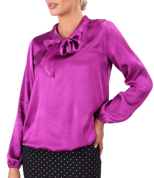 Viscose satin blouse with scarf collar