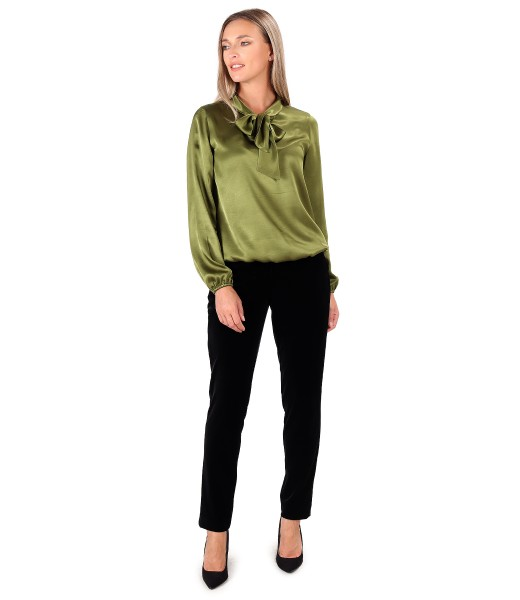Elegant outfit with elastic velvet pants and viscose satin blouse