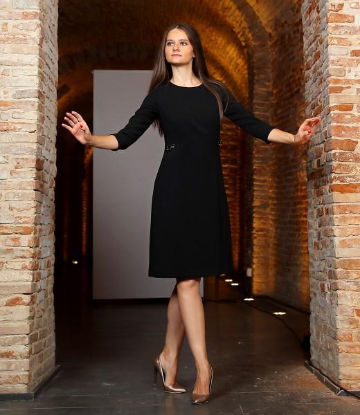 Office dress made of black elastic fabric