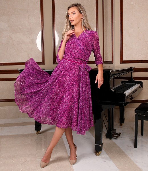 Printed veil dress with floral motifs
