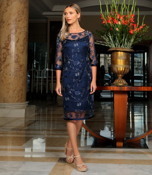 Lace evening dress with sequins and floral motifs